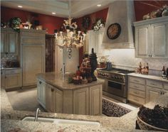 Old world charm creates a more formal atmosphere in the kitchen.
