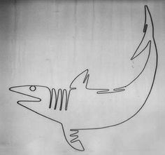 "The ""Shark"" wire wall sculpture (approx. 40x48) is fabricated from hand bent steel 1/8 inch rod. The shark is in a private collection, but a..."