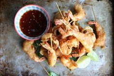 Fried Shrimp with Soy Chili Apricot Dipping Sauce