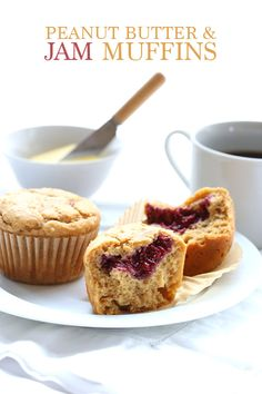 Why spread your low carb muffins with peanut butter when you can bake it right in? And with a spectacular sugar-free jam filling too. @DreamAboutFood