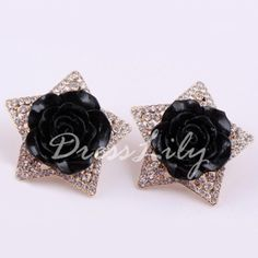 Pair of Elegant Flower Decorated Diamante Star Pattern Stud Earrings For Women #men, #hats, #watches, #belts, #fashion, #style