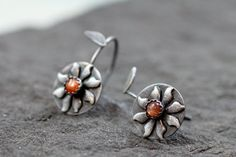 Sunflower Sterling Silver Earrings on Etsy, $45.00