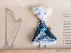 Art Doll Brooch Little Princess mixed media collage