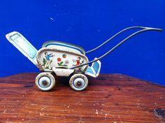 Antique German Tinplate Dolls House Babies Pram #Germany