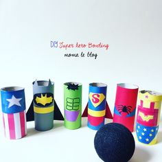 Diy un mini bowling de super héros! for the kids мстители, с Batman Crafts, Mini Bowling, Hero Crafts, Birthday Themes For Boys, Toilet Paper Roll Crafts, Superhero Party, Superhero Preschool, Dinosaurs Preschool, Camping Crafts