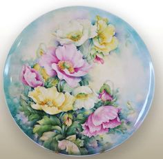 25cm Bone China hand painted Poppies