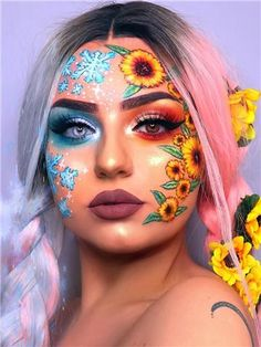 Newest and Colorful Eyeshadow Design Ideas and Images Part eyeshadow looks; eyeshadow looks step by step # makeup art Newest and Colorful Eyeshadow Design Ideas and Images Part 7 Makeup Eye Looks, Eye Makeup Art, Crazy Makeup, Cute Makeup, Eyeshadow Looks, Pretty Makeup, Crazy Eyeshadow, Half Face Makeup, Eyeliner Makeup