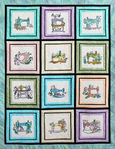 Mylar Vintage Sewing Machines Quilt