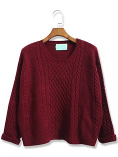 Wine Red Batwing Long Sleeve Cable Knit Sweater EUR€22.44