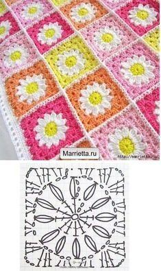 Easy to make crochet granny square pattern. Free crochet chart by Color'n creamColor 'n Cream Crochet and Dream: New Flower Squarecrochê passo a passo ( Crochet Bedspread Pattern, Crochet Motifs, Granny Square Crochet Pattern, Crochet Mandala, Crochet Diagram, Crochet Squares, Crochet Chart, Crochet Blanket Patterns, Crochet Granny