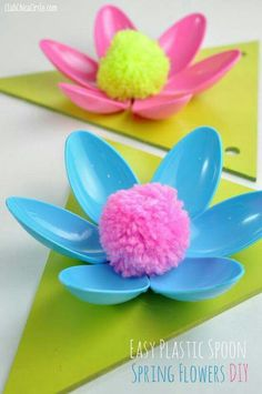 Easy craft ideas for the home spring flower plastic spoon decor idea making . easy craft ideas for the home quick kids crafts . Crafts For Teens To Make, Crafts To Do, Decor Crafts, Art For Kids, Crafts For Kids, Arts And Crafts, Kids Diy, Plastic Spoon Crafts, Plastic Spoons