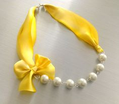 Bridesmaid Pearl Necklace Dandelion Yellow by liliwinklerbrides