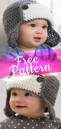 Baby Knitting Patterns Neutral Little Lindy's Aviator Hat Crochet Hats For Boys, Crochet Baby Blanket Beginner, Bonnet Crochet, Baby Boy Crochet Blanket, Crochet Beanie, Childrens Crochet Hats, Crochet Children, Crochet Blankets, Baby Knitting Patterns