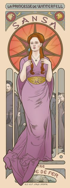 Game of Thrones. Sansa. Elin Jonsson's Game of Thrones art nouveau illustrations in the style of Alphonse Mucha