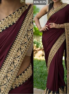 Stand out from the rest of the crowd wearing this Brown Colored Beautiful Embroidered Georgette Saree from the house of Grab and Pack. Made of georgette, this saree is quite comfortable to wear. Half Saree Designs, Choli Designs, Saree Blouse Designs, Maroon Saree, Blue Silk Saree, Punjabi Dress Design, Indian Bridal Sarees, Designer Blouse Patterns, Design Patterns