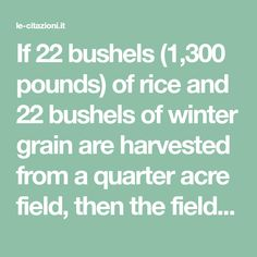 If 22 bushels (1,300 pounds) of rice and 22 bushels of winter grain are harvested from a quarter acre field, then the field will support five to ten people each investing an average of less than one hour of labour per day. But if the field were turned over to pasturage, or if the grain were fed to cattle, only one person could be supported per quarter acre. Meat becomes a luxury food when its production requires land which could provide food directly for human consumption. This has been… Masanobu Fukuoka, Luxury Food, Cattle, Cl, Investing, Grains, How To Become, Meat, Winter