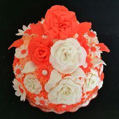 Coral cream and fondant cake