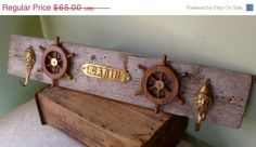 ON SALE Reclaimed Nautical Themed Wood Coat Rack, Ships Wheel,  Two Vintage Brass Sailor Hooks, Rustic Wood Coat Rack on Etsy, $58.50