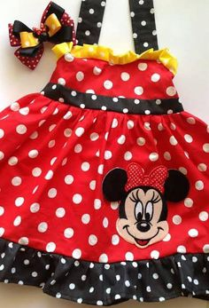 Boutique Birthday Minnie Dress and matching head bow on Etsy, $25.00