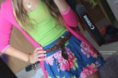 Lime green Cami with bright pink cardigan and floral skirt