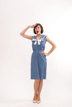 Vintage 1960s Sailor Dress  60s Nautical Dress  by concettascloset, $72.00