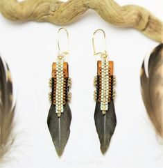 Native American Inspired Earrings, Reversible Feather Earrings by EzartesaJewelry