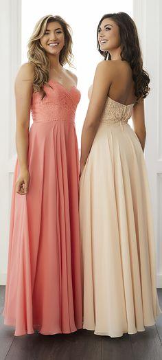 FALL 2017 // Style 22792 | This draped lace bodice features a scallop lace trim over the waist seam and a full chiffon skirt. #ChristinaWuCelebration #Bridesmaids #ChristinaWu #FallWedding