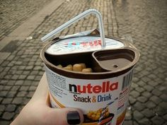 Nutella Snack  Drink: has a serving of Nutella, breadsticks and ICED TEA all in the same container!!  @Debi Weaver this is calling our names!! must-find-this wellness