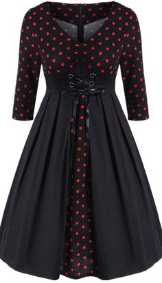 $19.41  Retro Polka Dot Lace Up Dress