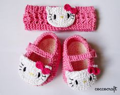 Hello Kitty Shoes and Headband Crochet Patterns FREE - Funcolor Craft FREE Crochet Pattern - Hello Kitty Shoes and Head . get some yourself some pawtastic adorable cat apparel! Hello Kitty Shoes and Headband Crochet Patterns FREE Tap the link for an aweso Baby Girl Crochet, Crochet Baby Clothes, Crochet Baby Shoes, Crochet Slippers, Crochet For Kids, Free Crochet, Free Knitting, Knitted Baby, Knitting Ideas
