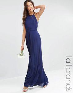 TFNC Tall | TFNC Tall High Neck Pleated Maxi Dress at ASOS