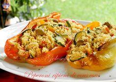 Peperoni ripieni di cous cous, gustosissimo primo piatto, ottimo da servire durante la stagione estiva, magari all'interno di un buffet!