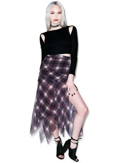UNIF RIFF PLAID CHIFFON SKIRT. Out of stock (was $128 from Dolls Kill).