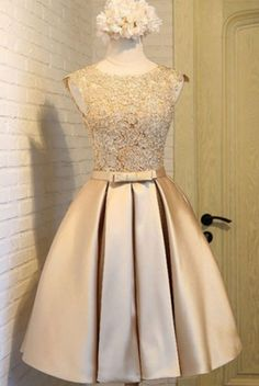 Champagne Round Neck Lace Homecoming Dress, Short #prom #promdress #dress #eveningdress #evening #fashion #love #shopping #art #dress #women #mermaid #SEXY #SexyGirl #PromDresses