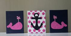 Baby Girl Nautical Decor Nursery Decor Wall Art Nautical Decor Whale Anchor Navy Blue Pink Polka Dots Acrylic Painting