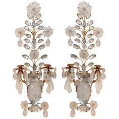 Pair of Rock Crystal & Gilt 2 Arm Sconces Interior Lighting, Lighting Ideas, Wall Sconces, Mirrors, Modern Wall Lights, Loveseats, French Chateau, Country French, Sconce Lighting