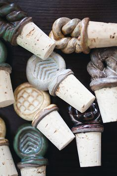 Set of 4 assorted Ceramic wine stoppers on Etsy, $20.00