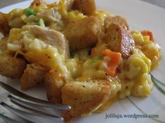 Cheesy Chicken and Rice Hotdish - I would use fresh veggies instead of frozen, but it looks easily adaptable to individual taste.