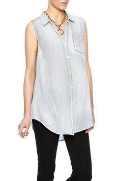 Sleeveless denim button up top with a high low hemline collared neckline and lace inset.  Denim Button Up Tank by Mystree. Clothing - Tops - Button Down Clothing - Tops - Sleeveless Minnesota