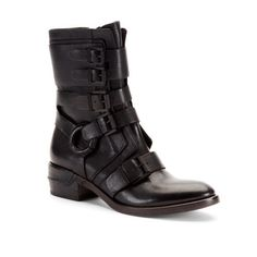 Black boot with buckles