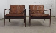 Vintage Swedish Samsö Easy Chairs by Ib Kofod-Larsen for OPE, Set of 2 in vendita su Pamono