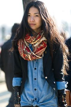 Denim layered with black and color.   Simple, feminine and chic.