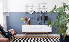 Best Home Decoration Stores Info: 2121910487 Half Painted Walls, Retro Interior, Room Decor, Room Inspiration, House Interior, Blue Decor, Home Decor Decals, Home, Home Decor