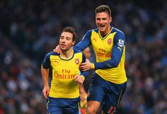 Our goal scorers, Santi cazorla and Olivier Giroud. Manchester City 0-2 Arsenal (January 2015)