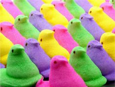 Peeps!! Its that wonderful time of year again!! Easter peeps are the best, its not the same when they try to make different types for different holidays!  And BTW, peeps are even better stale, poke a hole in the pack and let them sit a couple days, then try them!