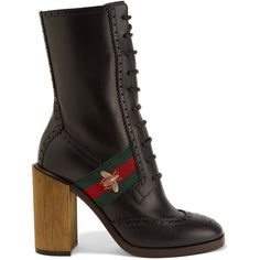 Gucci Canvas-trimmed leather ankle boots ($1,175) ❤ liked on Polyvore featuring shoes, boots, ankle booties, gucci, oxford ankle boots, short leather boots, bootie boots, high heel booties and ankle boots