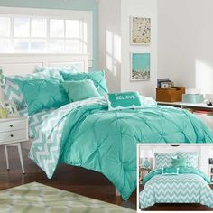 Foxville Pinch Pleated and Ruffled Chevron Print Reversible Comforter Set 9 Piece (Full) Aqua (Blue) - Chic Home Design Teal Comforter, Full Comforter Sets, Bedding Sets, Turquoise Pillows, Pink Bedding, Dorm Bedding, Blue Teen Girl Bedroom, Teen Girl Bedrooms, Girl Room Decor