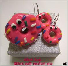 Donut Ring & Earring Set, Donut Ring, Donut Earrings, Doughnut Ring, Doughnut Earrings, Donut Gift for Girls, Donut Ring Girls, Donut Smile by SamsSweetArt on Etsy