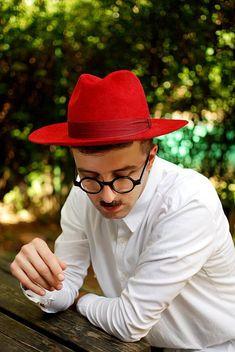 9b9609970ef Fedora hat for Men   classical hat   Red felt winter autumn wide brim hat  fedora trilby hat   Hat fo