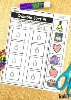 100% Picture-based cut and paste phonemic awareness worksheets. These are perfect kindergarten, first grade, and English language learners! Comprehension Activities, Learning Activities, Teaching Ideas, Syllables Kindergarten, Elementary Science Classroom, Homework Organization, Education Quotes For Teachers, Teaching Reading, Guided Reading